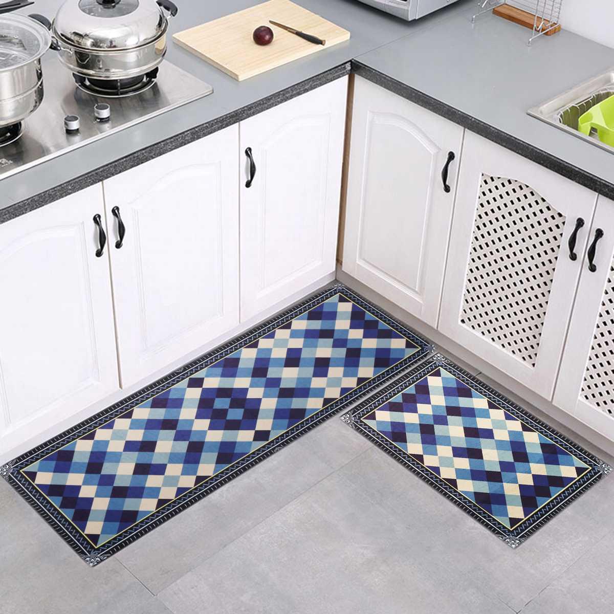 Machine Washable Non Slip Home Kitchen Bath Floor Mat Rug Living Room Balcony Bathroom Door Runner Hallway Carpet Set Doormat