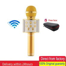 лучшая цена Bluetooth Portable Wireless Condenser Handheld Microphone Built-in Speaker Karaoke mic Compatible With PC/iPad/iPhone/Smartphone
