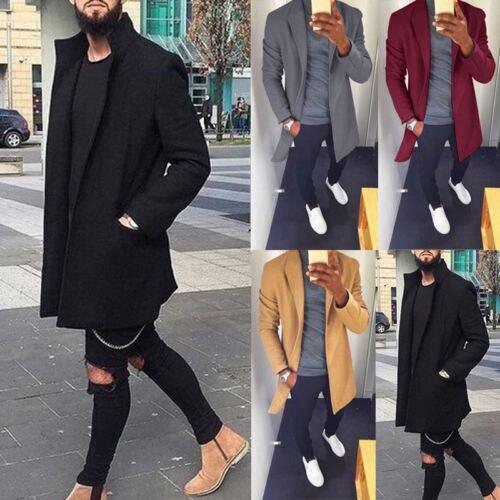 2018 Winter Mode Neue Männer Lange Wolle Warme Graben Mantel Casual Winter Outwear Klassische Stilvolle
