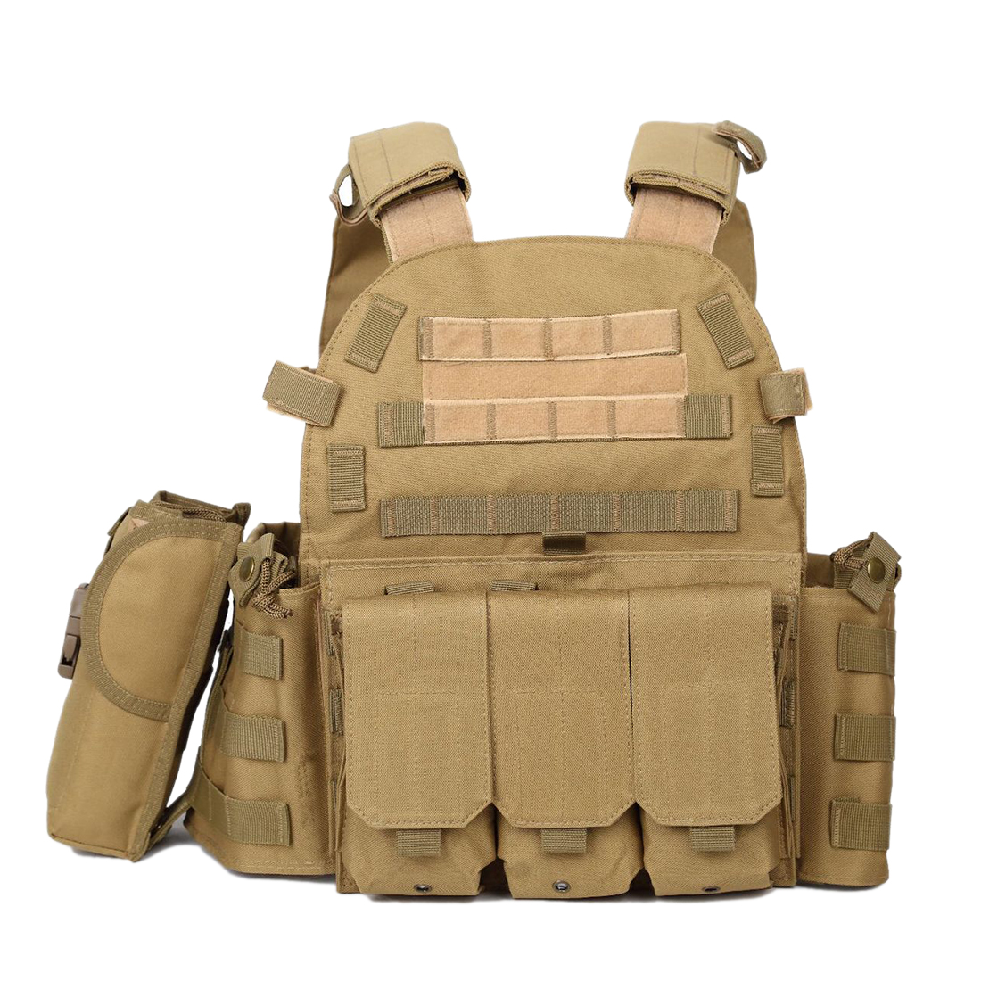 Js-6094 Plate Carrier Modular Military Vest For Airsoft Outdoor Activities Paintball Accessories- Tan