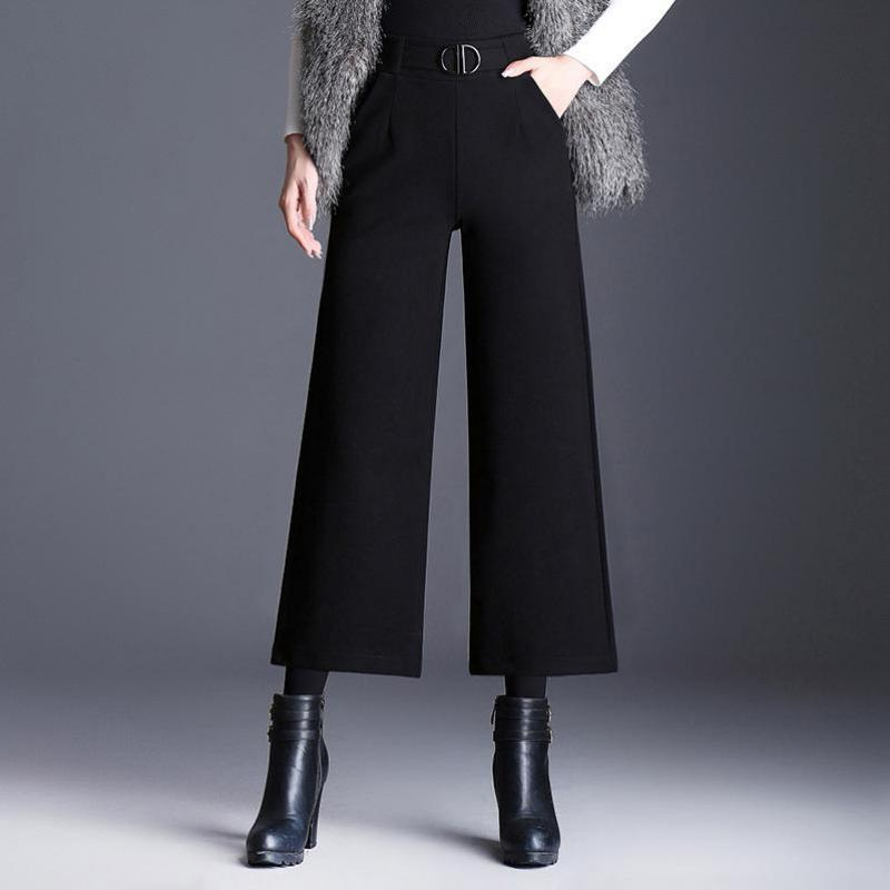 Shuchan Wool Blend Winter Warm Trousers For Women High Waist   Wide     Leg     Pants   Women's Clothing Of High Quality black gray 9918