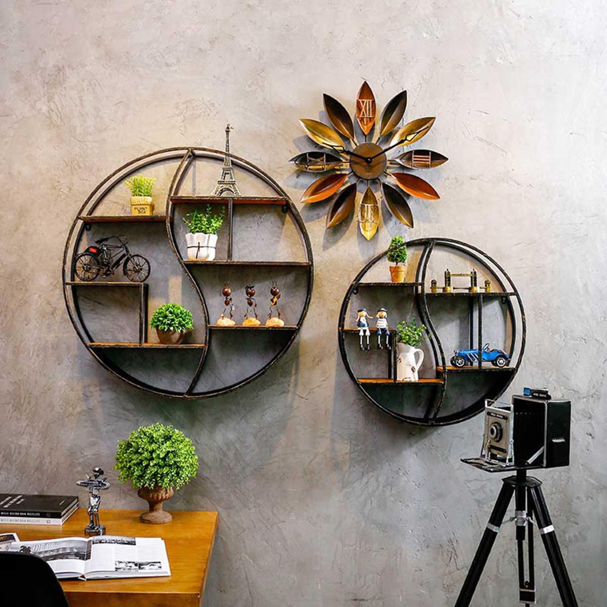 Round Wood Iron Books Vase Jewelry Display Shelf Hanging Stand Retro Style YIN YANG Pattern Wall-mounted Storage Rack Organiser