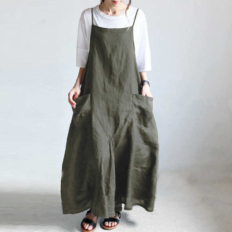 19b0fd1c72e 2019 Summer ZANZEA Women Strappy Solid Baggy Dress Long Maxi Overalls Dress  Casual Loose Party Sarafans