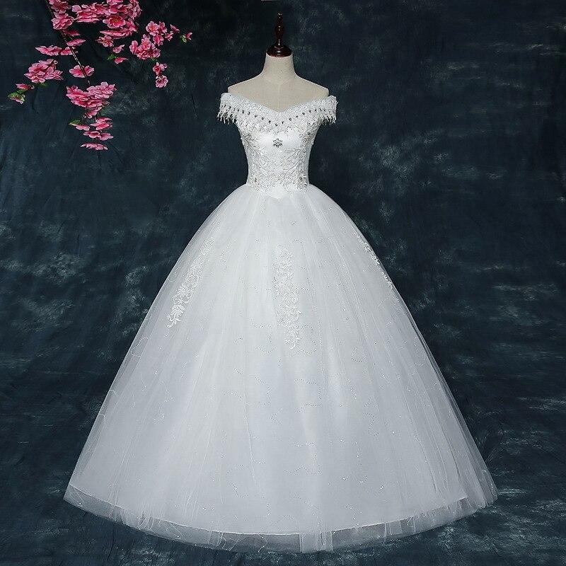 White A Line Wedding Dress 2019 Elegant V Neck Lace Back Appliques Lace Beaded Wedding Gowns Floor Length Vestido De Noiva Renda