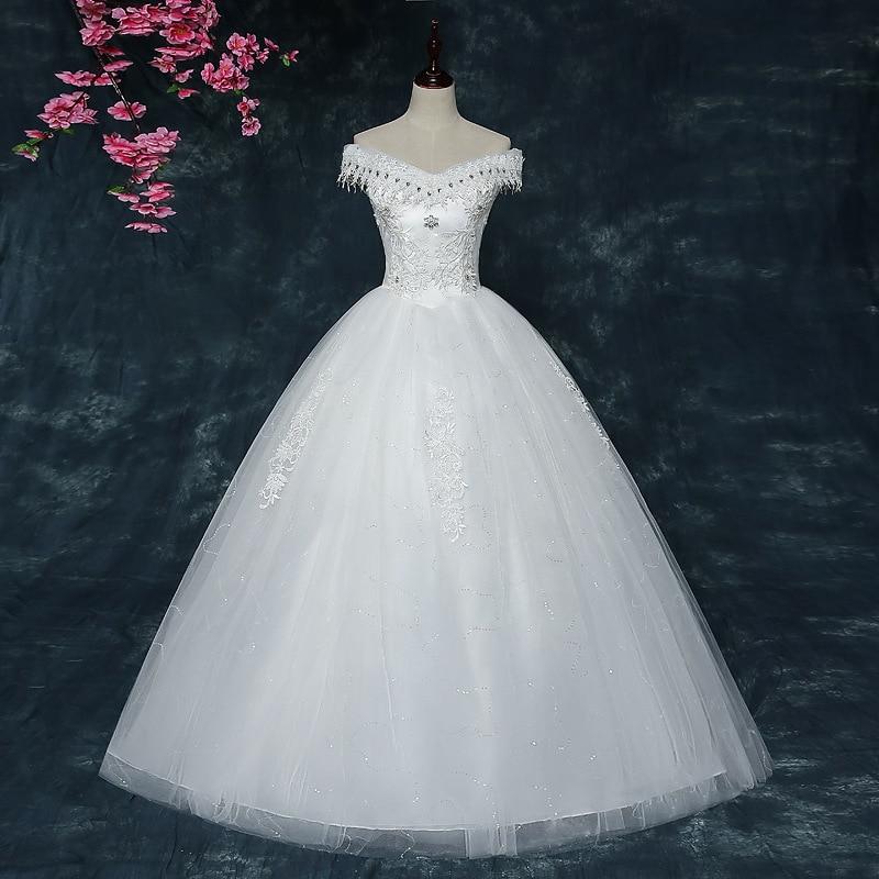 White A Line Wedding Dress 2020 Elegant V Neck Lace Back Appliques Lace Beaded Wedding Gowns Floor Length Vestido De Noiva Renda