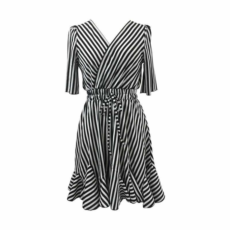BEFORW 2019 yaz kısa kollu plaj elbise kadın kıyafetleri seksi V yaka parti Mini elbiseler moda rahat çizgili elbise Vestidos