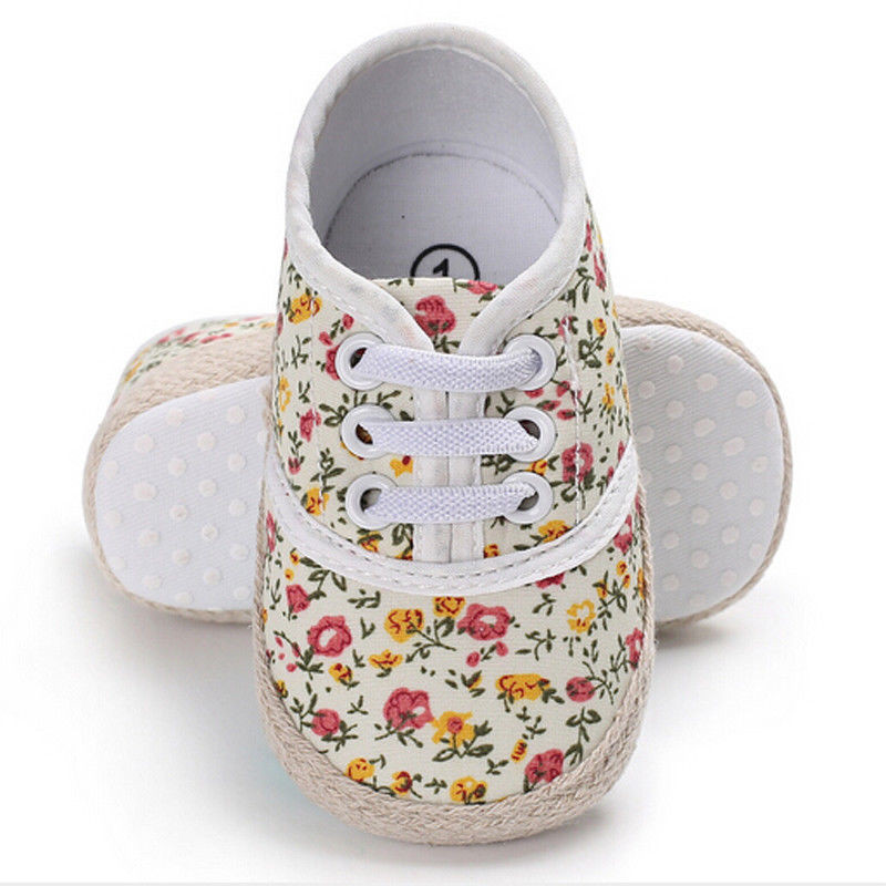 Cute Non-Slip Newborn Kids Baby Girls Toddler Clothes Flower Print Cotton Casual Shoes Anti-slip Prewalker One Pairs