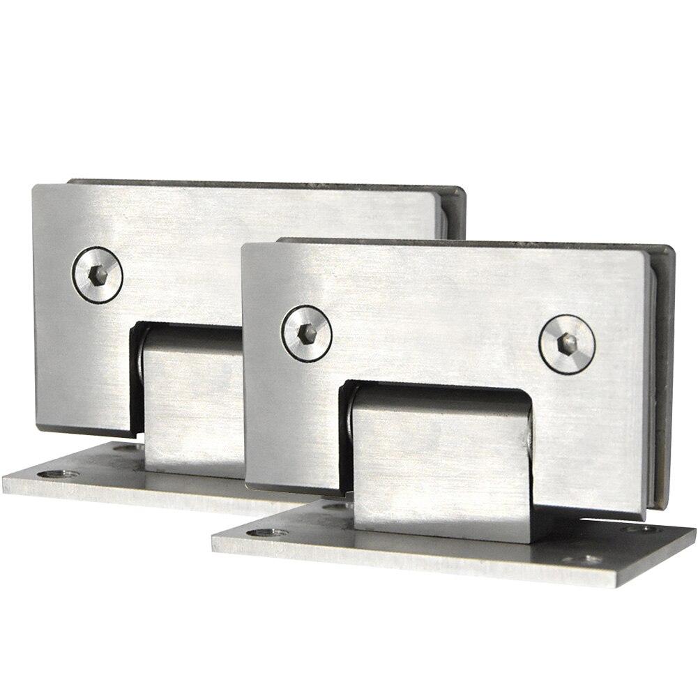 2 uds abrazadera de puerta de acero inoxidable con Clip cromado abrazadera de puerta duradera de 90 grados abrazadera de cristal accesorios de puerta abrazadera de puerta sin marco ducha #05