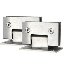 Braçadeira de porta cromada de aço inoxidável, 2 peças, clipe de vidro durável 90 graus, prendedor de porta, suporte, sem moldura, chuveiro #05