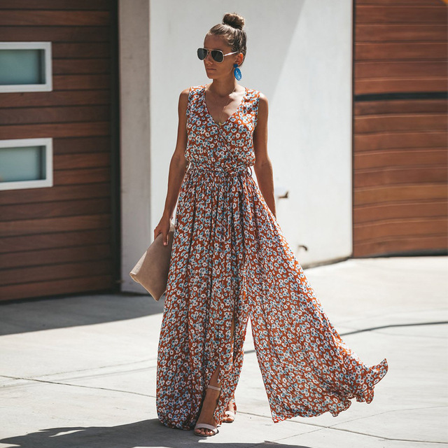2019 New Women'S Spring And Summer Bohemian Cotton Printed Long Dress Female'S Plus Size V Neck Sleeveless Plus Size Dresses