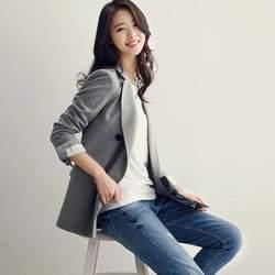 Осень для женщин пиджаки для и куртки Винтаж с длинным рукавом двубортный Женский блейзер офисные женские туфли работы костюм