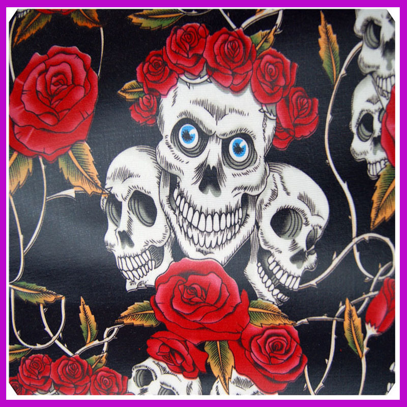 145x50cm1pc Rose Skull Fabric 100% Cotton Fabric Telas Patchwork Cotton Canvas Rose Skull Tela impresa Costura Ropa de bricolaje