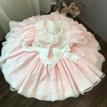 girls pink dress lace baby dresses elegant clothing ruffles frock birthday holiday cotton children christmas costume