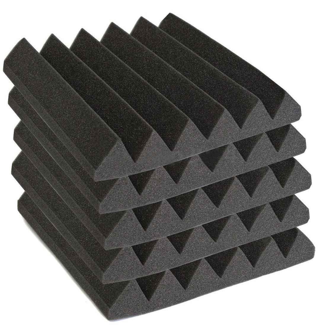12 Pack Acoustic Wedge Studio Foam Sound Absorption Wall Panels 2 inch x 12 inch x 12 inch