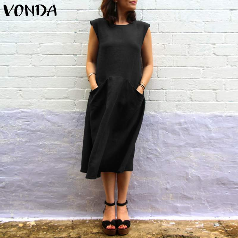Women Summer Dress 2019 VONDA Brand Vintage Sexy O Neck Sleeveless Mid Calf Cotton Dresses Casual Loose Vestidos Plus Size