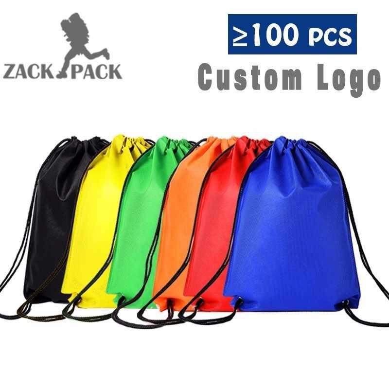 40e54c6fd Impermeable de deportes bolsas de cordón de logotipo personalizado bolsa  Mochila cuerda hombre lienzo pequeño gimnasio