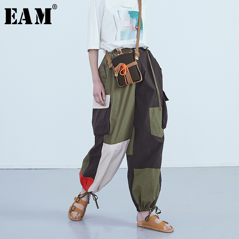 [EAM] 2019 New Spring Summer High Elastic Waist Loose Split Joint Personality   Wide     Leg     Pants   Women Trousers Fashion Tide JS747