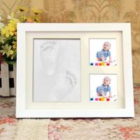 Baby Footprint Handprint Molds for Newborns Picture Photo Frame Baby Souvenir Clay Item Touch Inkpad for Boys and Girls