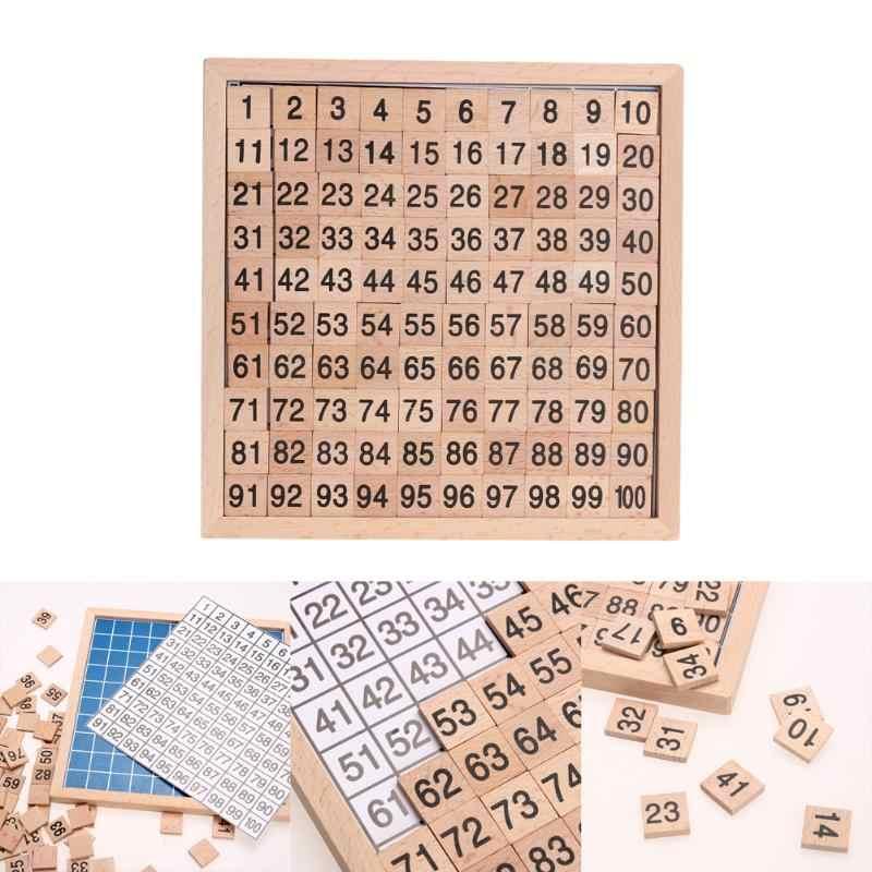Montessori educação placa digital de madeira 1-100 números contínuos crianças criança matemática brinquedos de ensino para crianças aprendizagem presente