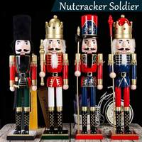 60cm Wooden Nutcracker Soldier Square Stand Colorful Wood Wooden Nutcracker Doll Puppet for Home Decoration Gifts wood Figurines