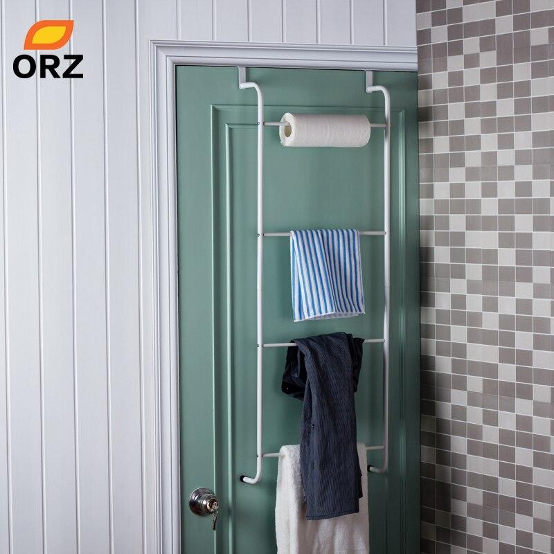 Orz metal 4-camada de armazenamento titular rack trapezoidal pendurado sobre porta toalheiros banheiro prateleiras de armazenamento de roupas organizador prateleira