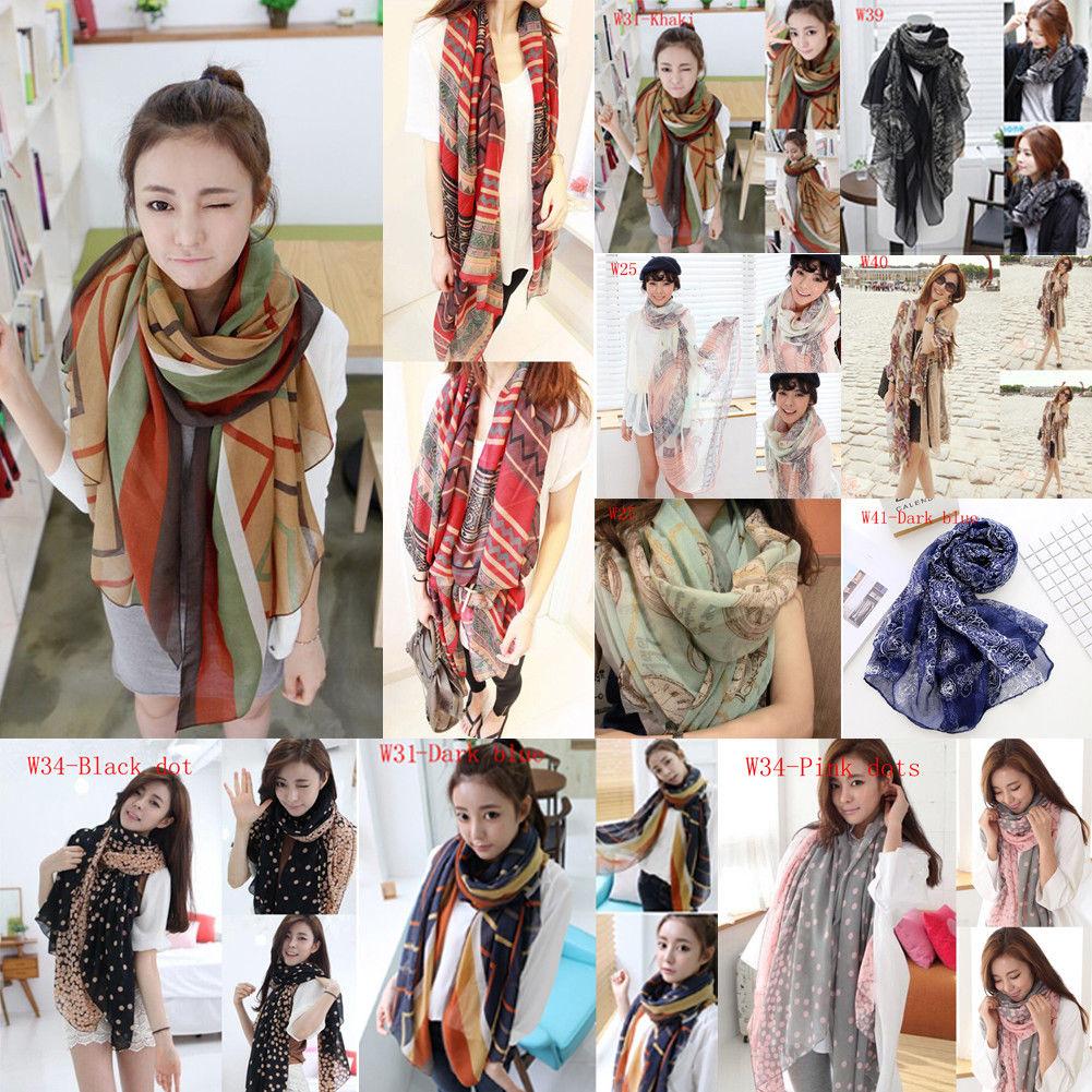 Brand New Women Soft Long Neck Large   Scarf     Wrap   Shawl Pashmina Stole Scarve Chiffon Cotton