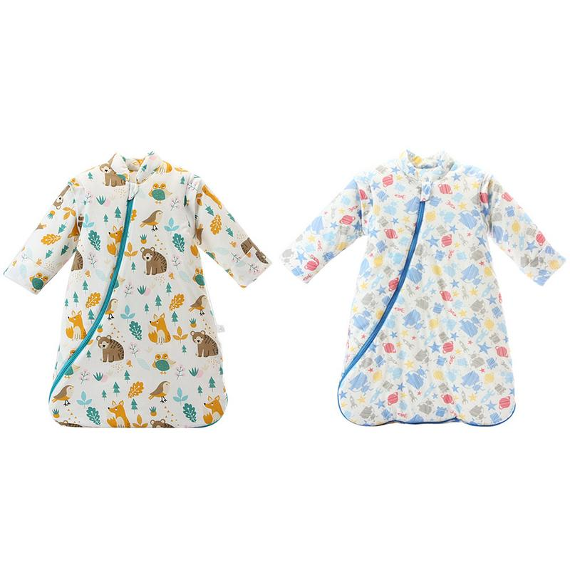 Children's Fall And Winter Thickened Cotton Flannel Sleeping Bag Infant Long Sleeves Stroller Warm Cartoon Sleeping Bag