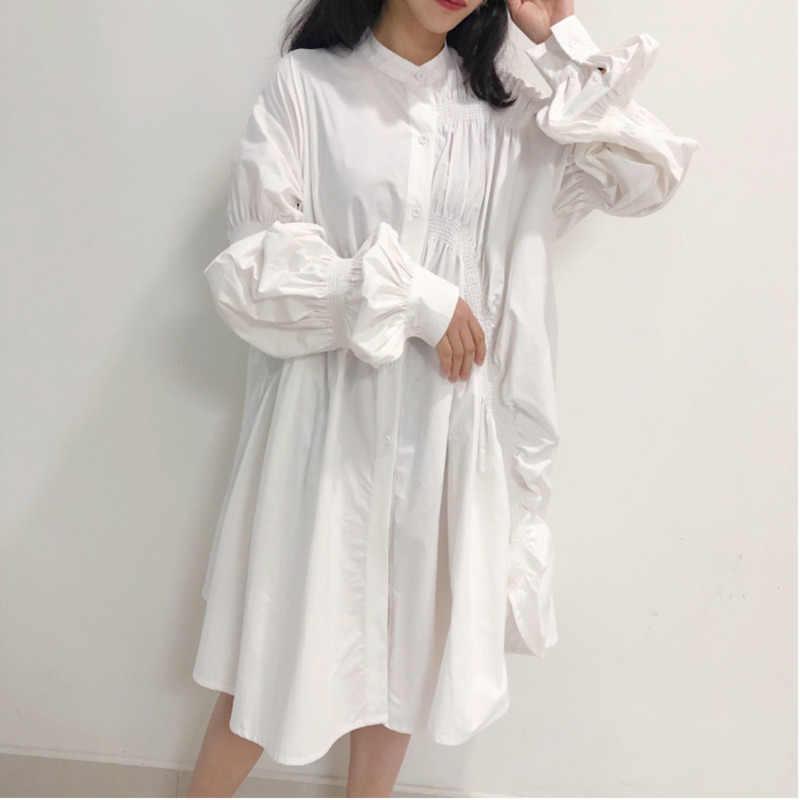 LANMREM 2019 новая весенняя модная женская одежда с отложным воротником и рукавами-фонариками однобортное асимметричное Хлопковое платье WD924