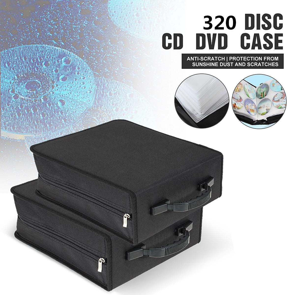 Novo Portátil 320 Capacidade CD DVD Titular Carry Bag Caso De Armazenamento De Mídia Durável Preto de Alta Qualidade