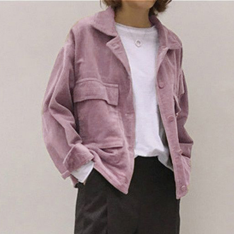 Corduroy Jacket Coat Tops Spring Oversize Streetwear Loose Vintage Autumn Women Ladies