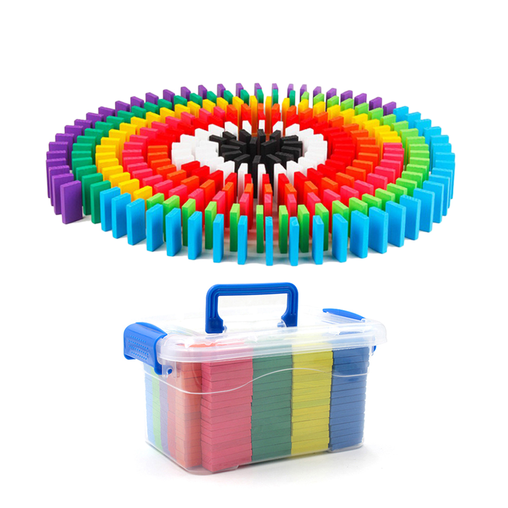 300PC Children s Toy Storage Box Wooden Rainbow Code Card Organs Dominoes Toy Blocks for Stacking
