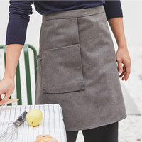 Black Gray Washed Canvas Waist Apron Cotton Straps Barista Bartender Bakery Pastry BBQ Chef Uniform Florist Artist Work Wear K11