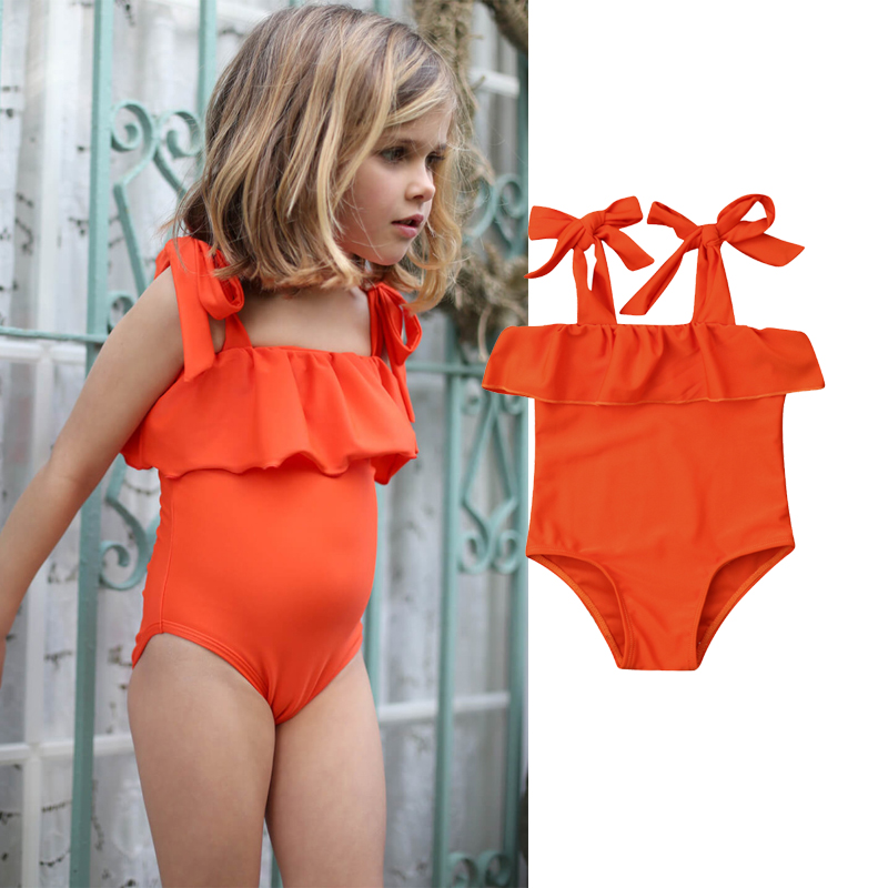 2019 Summer Toddler Kid Baby Girls Cute Solid Ruffle Bikini Set Swimwear Swimsuit Beachwear Bathing
