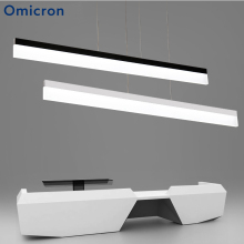 Omicron Modern Led Pendant Lights White Black Metal Body Minimalism Long Strip Lamp Decoration For Study Room