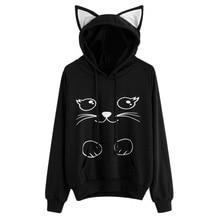ZOGAA 2019 Solid Hooded Top Cute Cat print Hoodie Warm Womens top harajuku hoodie 3 Colors недорого