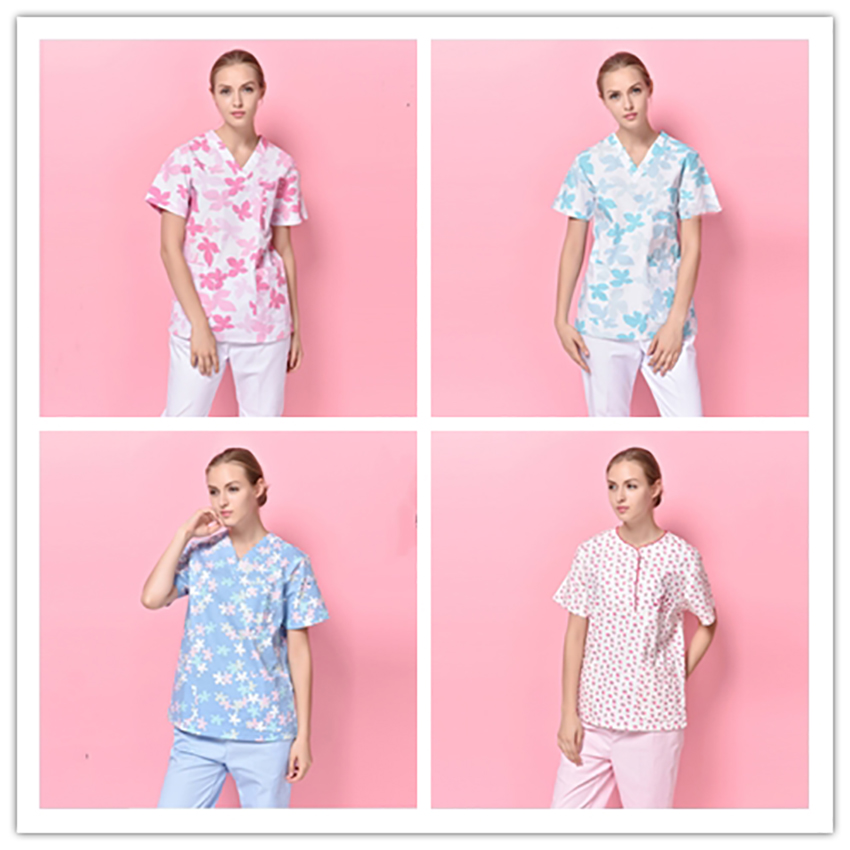 Floral Print Mediecal Scrubs Nurse Uniform Women Beauty And Health Medical Suit Lab Coat Cap Clinical Uniforms Dropshopping Diversified In Packaging
