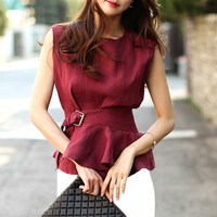 With Belt! Woman Plus Size Shirts Blouses Elegant Ol Work Shirts Blouses Red Wine Sleeveless Summer Blouses Nice Tops Dy016