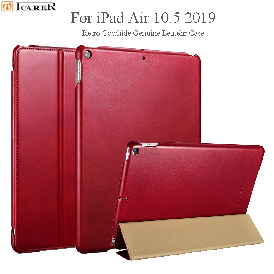 Genuine Leather Case For iPad Air 10 5 2019 Retro Cowhide Leather Case Tri Fold Stand
