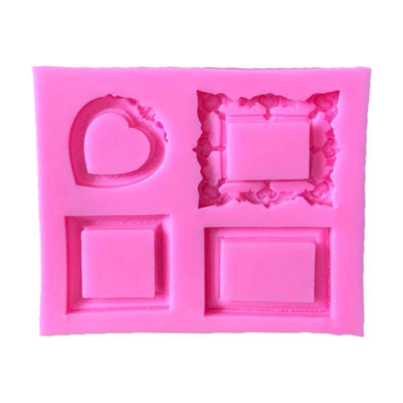 Cupcake Mirror Frame Retro Heart Shape Chocolate Mold Fondant Tool Baking Mold Fondant Mold for Cake Decor Baking