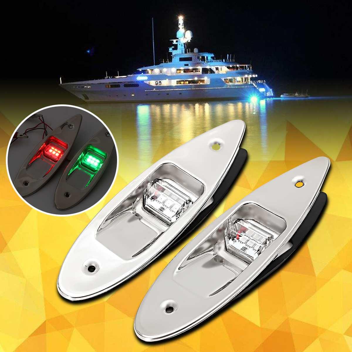 Nouveau universel 2x12 V rouge et vert imperméable à l'eau Marine bateau lumière LED marqueur latéral Navigation affleurant lumière en acier inoxydable