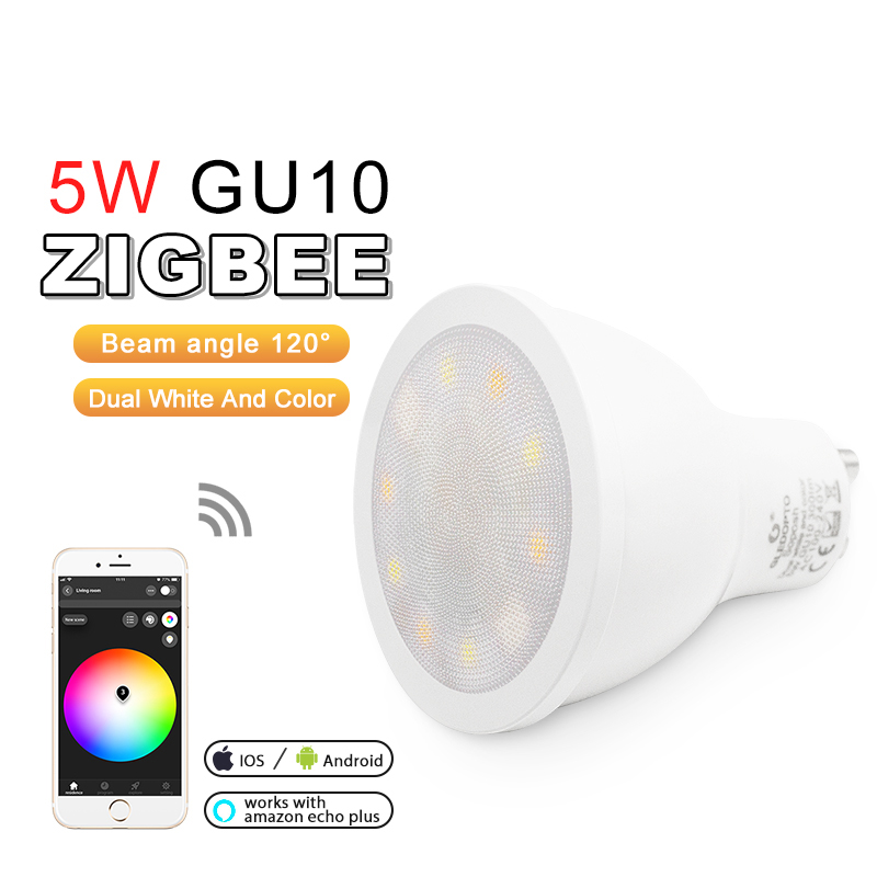 10pcs Set ZIGBEE RGBCCT Spotlight Beam angle 120 Degrees 5W GU10 APP control Dual White and