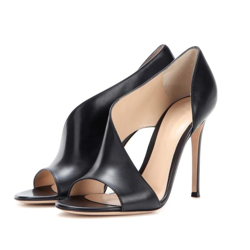 573c209d4d8 El negro Fina Verano Carole Levy Sandalias Cuero Sexy Genuino Apricot  Nuevas Tamaño Más 44 Conciso De Negro Zapatos Mujer Tacón ...