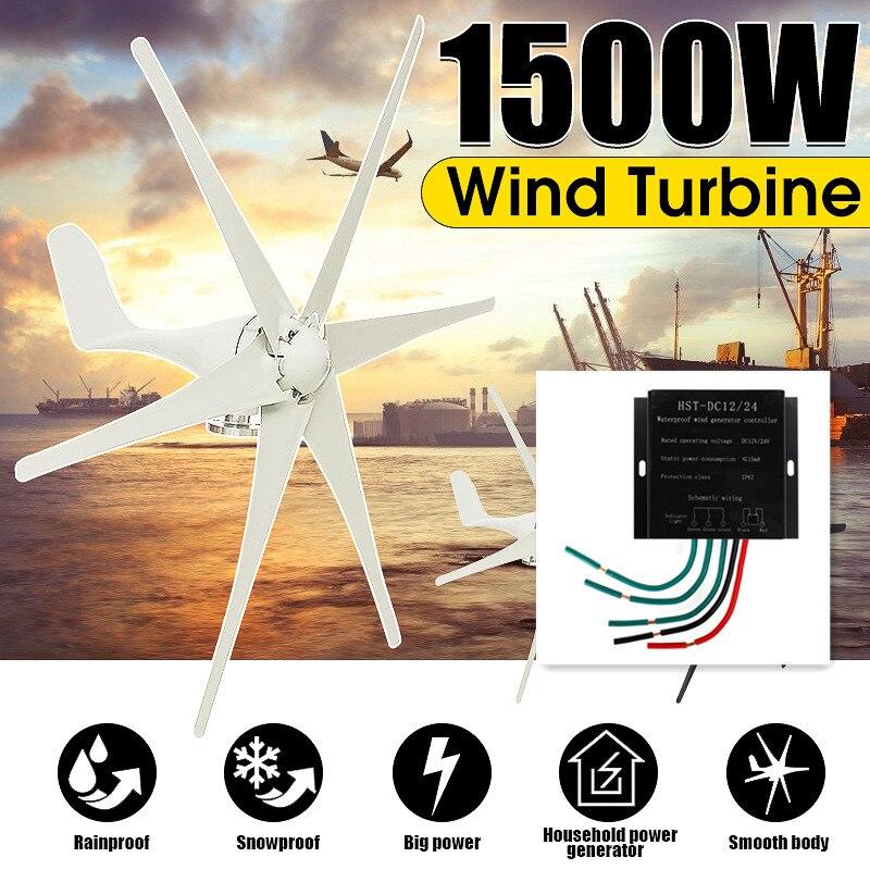 1500 W 12 V/24 V/48 volts 6 lames + contrôleur éoliennes Horizontal maison générateur de vent puissance moulin à vent Turbines d'énergie Charge