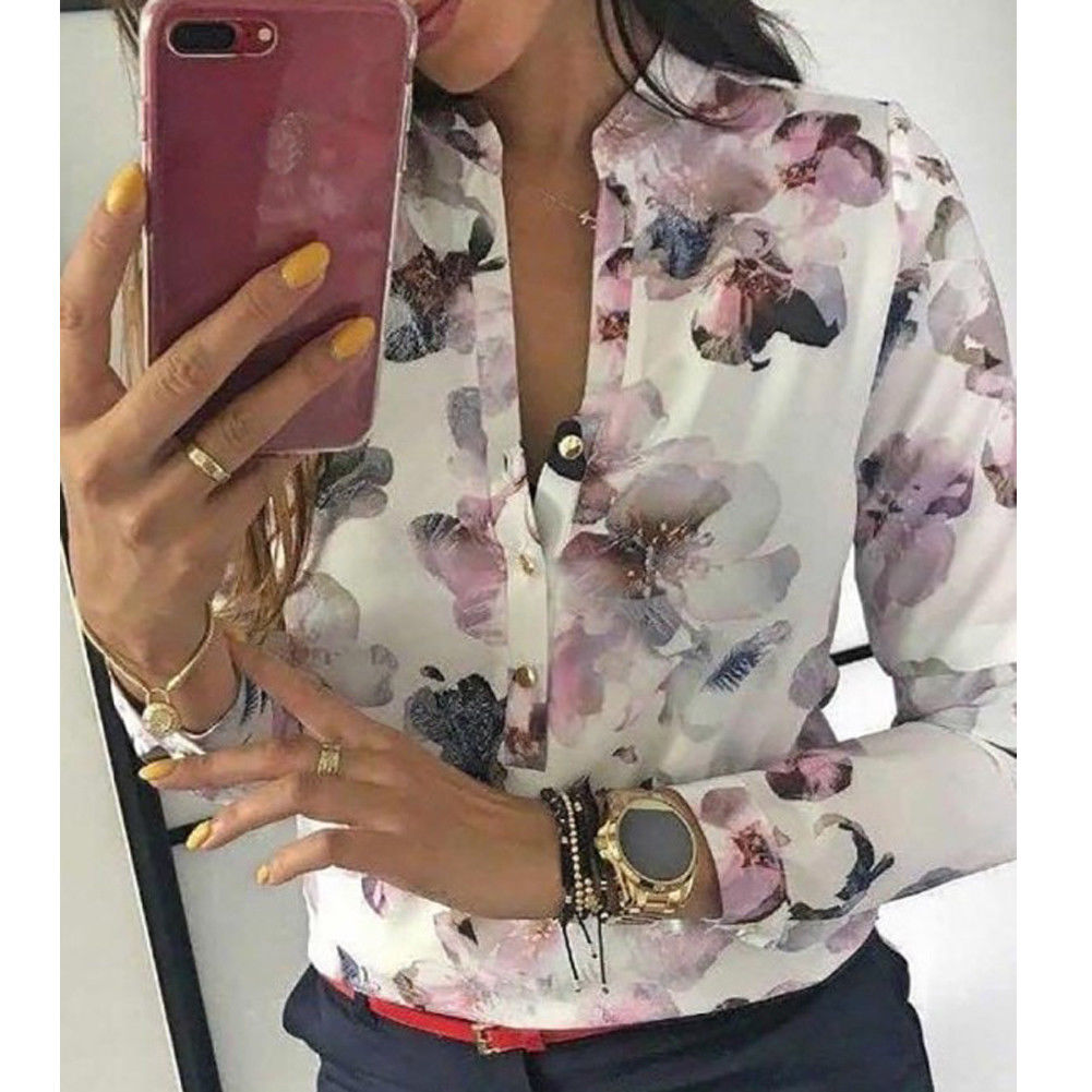 Fashion Floral Print OL Women Ladies Casual Long Sleeve Top Blouses 2019