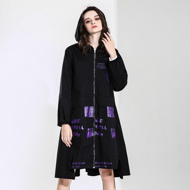 Max LuLu 2019 ฤดูใบไม้ผลิแฟชั่นอังกฤษสุภาพสตรีสีดำเสื้อผ้า Hooded Windbreaker ผู้หญิงพิมพ์ขนาดใหญ่ Trench Vintage เสื้อโค้ทยาว-ใน โค้ทยาว จาก เสื้อผ้าสตรี บน   3