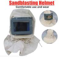 Anti Dust Spray Paint Safety Helmet Canvas Sandblasting Helmet Protective Hood Cap Face Mask Workplace Safety Supplies Free Size