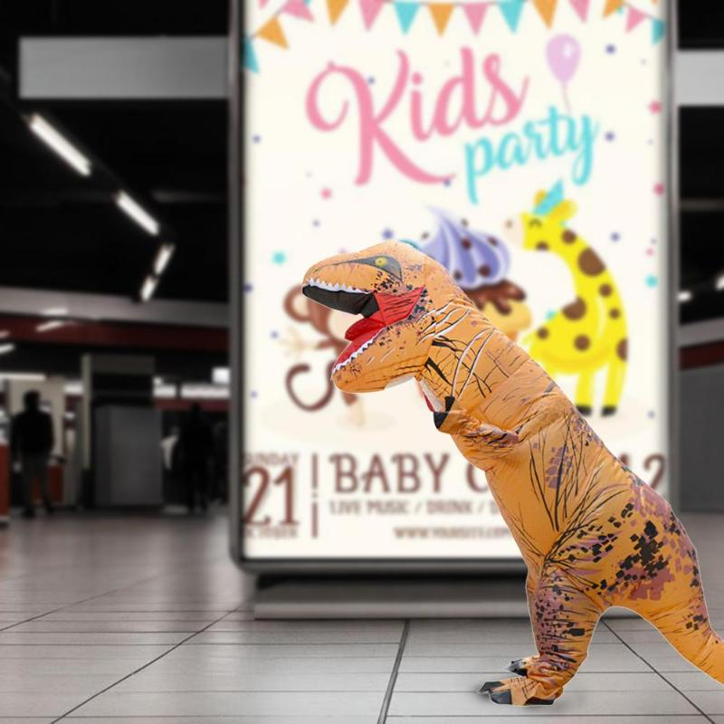 Adult Inflatable Dinosaur Costume T-Rex Animal Christmas Halloween Dress Blowup Fancy Party Cosplay Suit Jumpsuit for Women Men