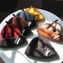 Chapéu de lã Fundo de Curto Chapéus Mulher Estudante Outono E Inverno Top  de Tricô Chapéu Chapéu Senhorio Masculino Coreano Mant. 9338b38a952