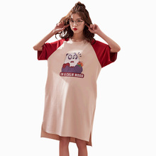 New Cotton Nightdress Women Sweet Girl Cartoon Tshirt Casual Sleep Wear Home Summer Dress Nightwear Loose Nightgown