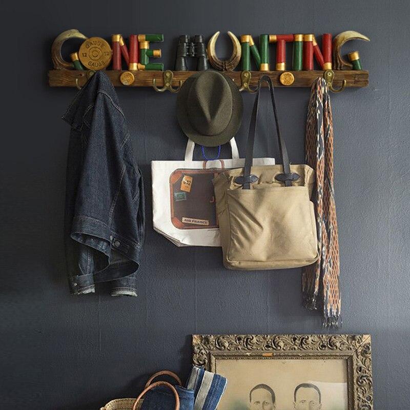 Résine lettre manteau chapeau serviette manteau sac vêtements organisateur métal crochets clé salon chambre cuisine décor maison mur porte cintre